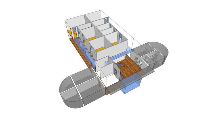 Sanierung und Umnutzung einer historischen Turnhalle zum Nachwuchsleistungszentrum_Haus-im-Haus-Methode