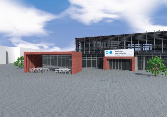 Erweiterung Mensa Hochschule Bonn-Rhein-Sieg in Rheinbach, Eingangsbereich