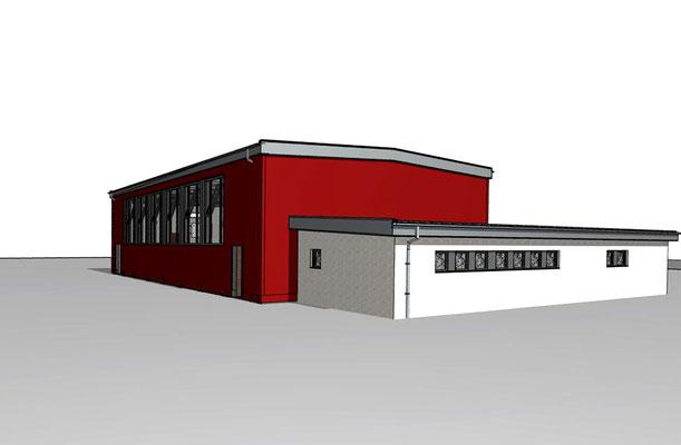 Turnhalle Don-Bosco-Schule Leverkusen, Animation Ansicht Pfarrer-Jeckel-Straße