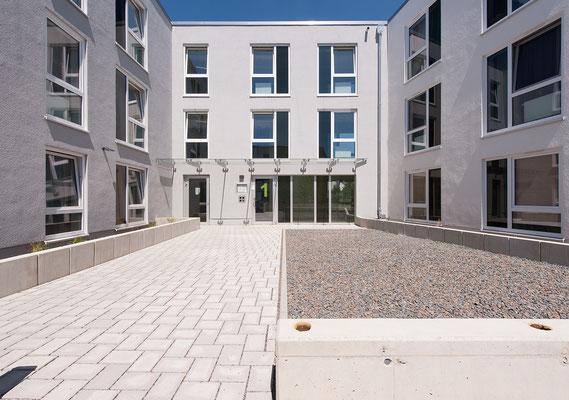 Neubau Studierendenwohnanlage in Gummersbach, Ansicht Hofseite