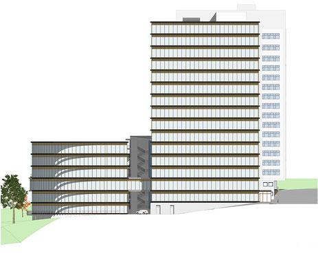 Anerkennung im Wettbewerb Verdichtung Kreishausareal Gummersbach Animation, Ansicht Lochwiese