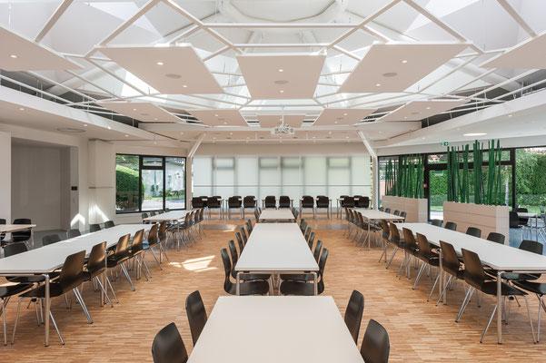 Modernisierung Betriebsrestaurant Siegwerk Druckfarben AG & Co. KGaA, flexible Raumzone, Glasfaltwand offen