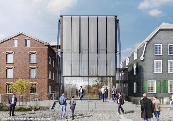 Neubau des Verbindungsbaus zwischen Engelshaus und Museum für Frühindustrialisierung in Wuppertal - Ansicht bei Tag
