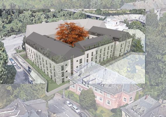 Wettbewerb I Ersatzneubau Studierendenwohnheim St. Martinskloster Trier, Visualisierung