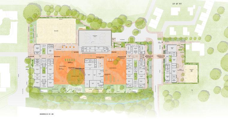 """Wettbewerb Neubau """"Campus Sandheide"""" Erkrath, Grundrisse EG"""