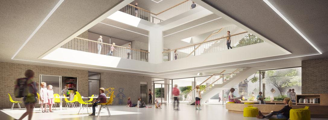 Anerkennung im Wettbewerb Neubau Tiegelschule Essen, Blick ins Forum