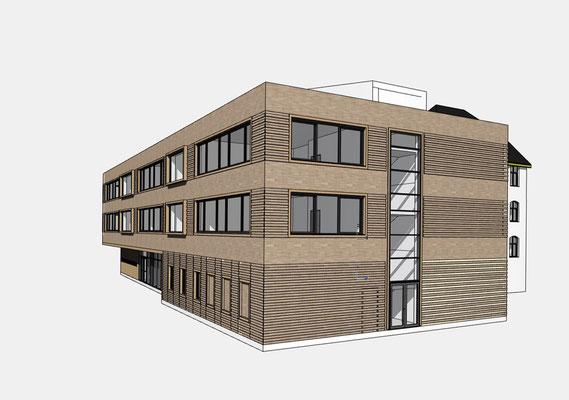 Erweiterung Brüder-Grimm-Schule Dortmund, Durchgang zum Schulhof Ansicht