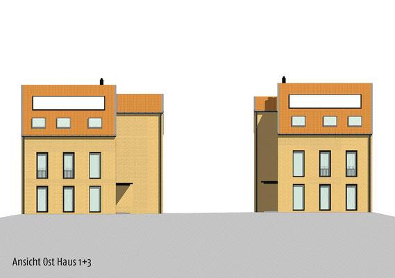 Neubau von Einzelhäusern für gefördertes Wohnen der Stadt Köln, Ansichten