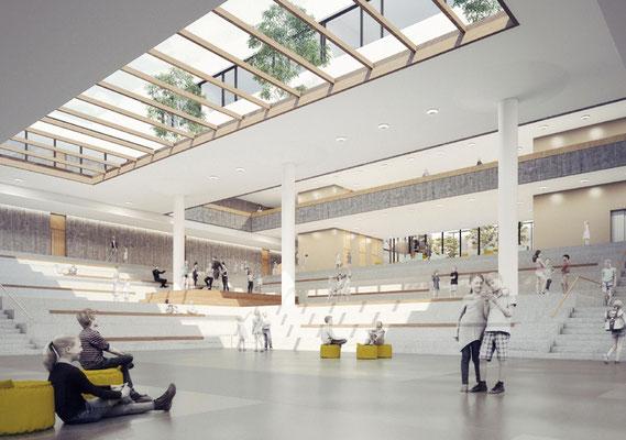 Wettbewerb Neubau Gesamtschule Sieglar, Animation Aula