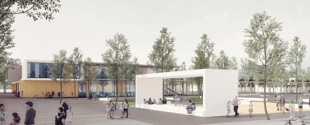 Wettbewerb Neubau Gesamtschule Sieglar, Animation Schulgebäude 1