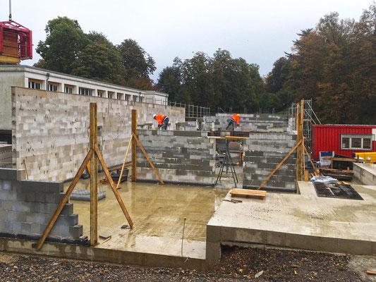 Neubau Kindertagesstätte Schulstraße Wülfrath, die ersten Wände des EG's stehen