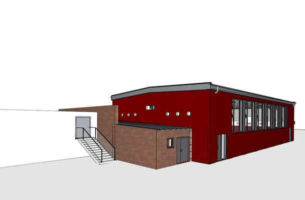 Turnhalle Don-Bosco-Schule Leverkusen, Animation Ansicht Nord