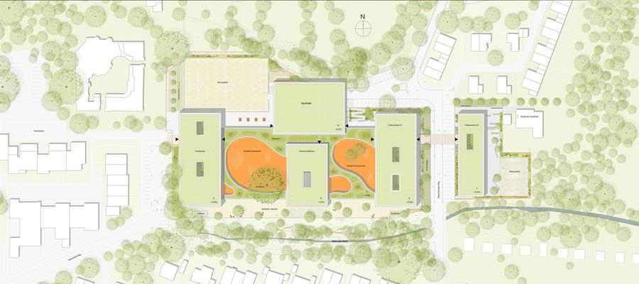 """Wettbewerb Neubau """"Campus Sandheide"""" Erkrath, Lageplan"""
