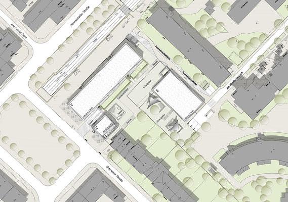 Wettbewerb I Neubebauung Hermeskeiler Platz in Köln, Lageplan