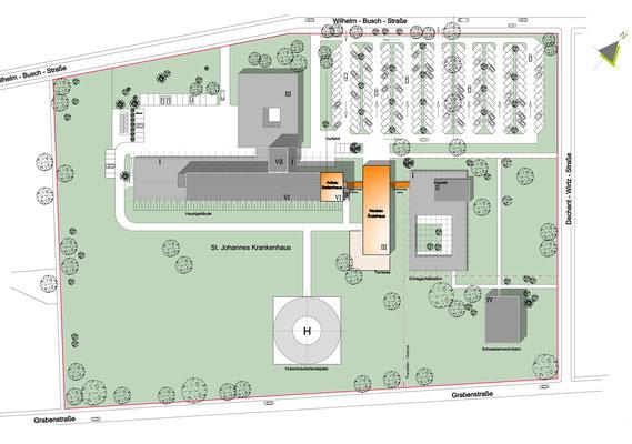 Erweiterungsneubau Bettenhaus St Johannes Krankenhaus Troisdorf_Lageplan