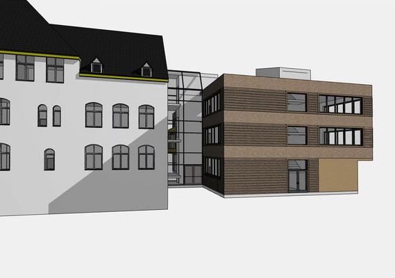 Erweiterung Brüder-Grimm-Schule Dortmund, Treppenhausturm Ansicht