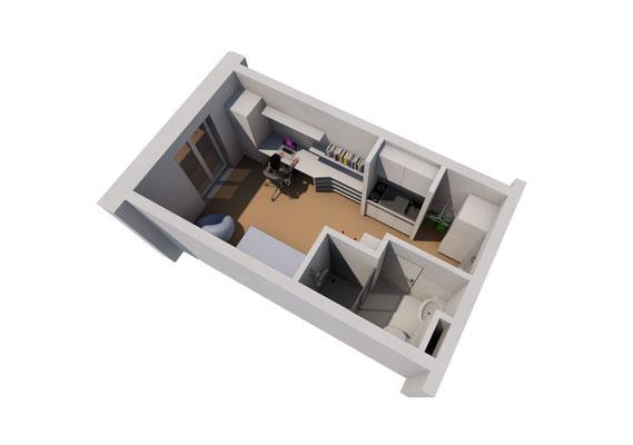 Wettbewerb I Ersatzneubau Studierendenwohnheim St. Martinskloster Trier, Apartment 3D