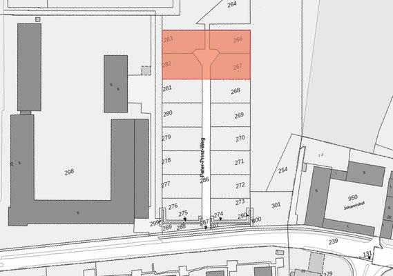 Neubau von Einzelhäusern für gefördertes Wohnen der Stadt Köln, Übersichtsplan