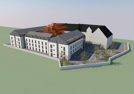 Wettbewerb I Ersatzneubau Studierendenwohnheim St. Martinskloster Trier, Perspektive Parkplatz