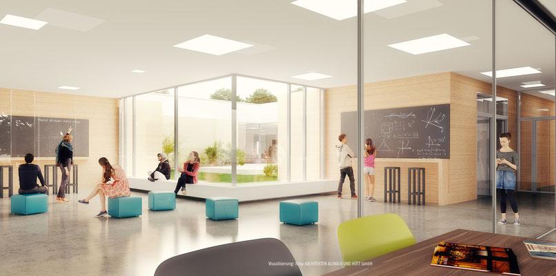 Wettbewerb Ersatzneubau Anne-Frank-Gesamtschule Düren-Mariaweiler, Blick ins Forum