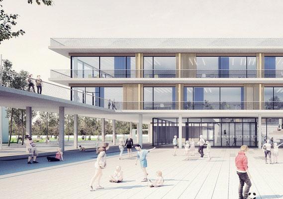 Wettbewerb Neubau Gesamtschule Sieglar, Animation Schulhof zu Haupteingang Detail