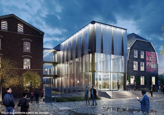 Neubau des Verbindungsbaus zwischen Engelshaus und Museum für Frühindustrialisierung in Wuppertal - Ansicht bei Nacht