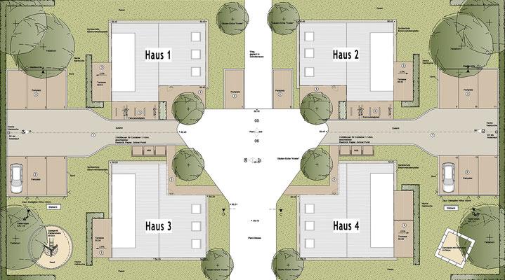 Neubau von Einzelhäusern für gefördertes Wohnen der Stadt Köln, Lageplan
