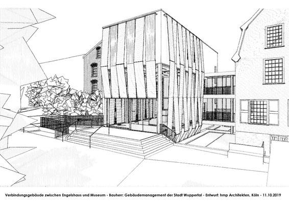Neubau des Verbindungsbaus zwischen Engelshaus und Museum für Frühindustrialisierung in Wuppertal - Skizze 01