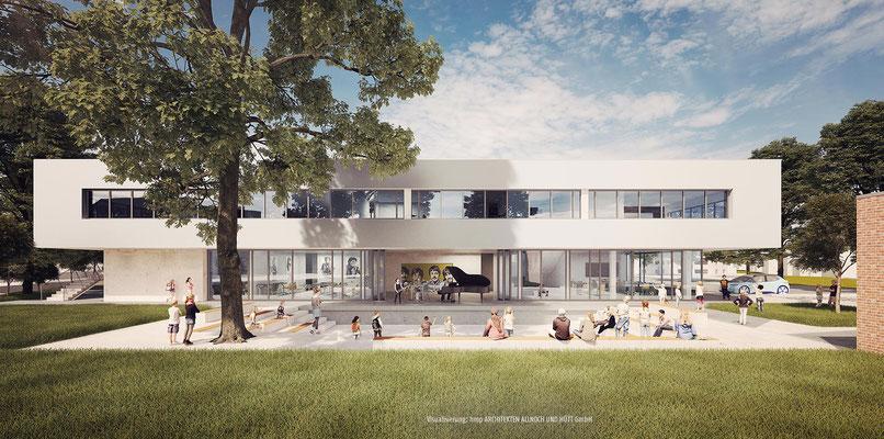 Wettbewerb Ersatzneubau Anne-Frank-Gesamtschule Düren-Mariaweiler, Blick von Süden