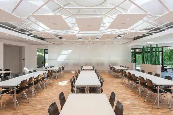 Modernisierung Betriebsrestaurant Siegwerk Druckfarben AG & Co. KGaA, flexible Raumzone, Glasfaltwand geschlossen