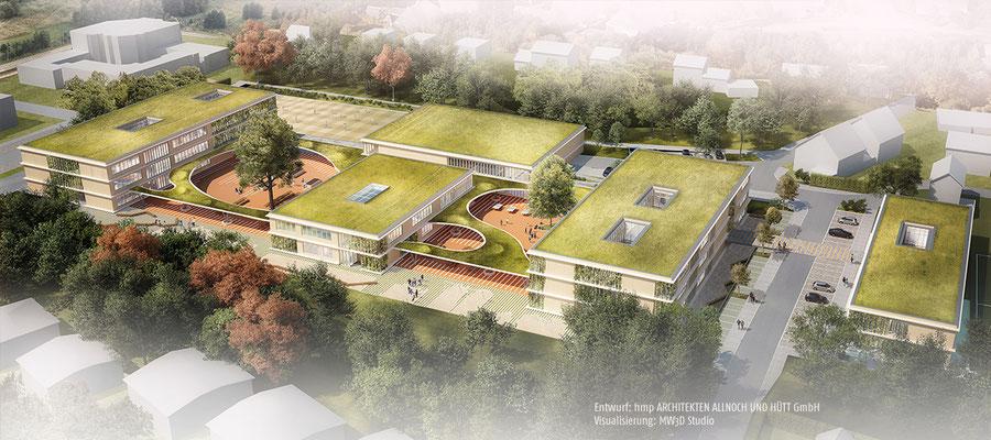 """Wettbewerb Neubau """"Campus Sandheide"""" Erkrath, Visualisierung Vogelperspektive"""
