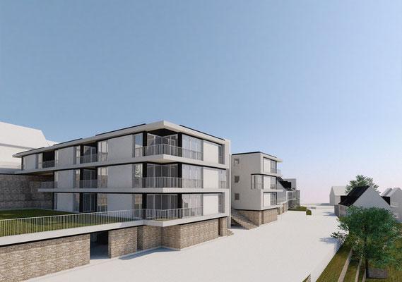 Wettbewerb I Quartiersentwicklung Breitenhagen, Altena, Ansicht Neubauten untere Straße