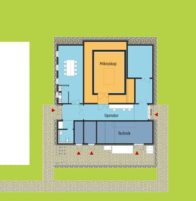 Neubau TEM-Gebäude, Bereiche