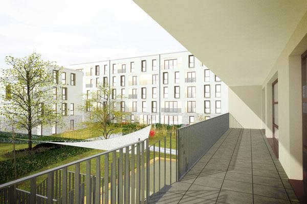 Wettbewerb I Neubebauung Hermeskeiler Platz in Köln, Blick von Kita