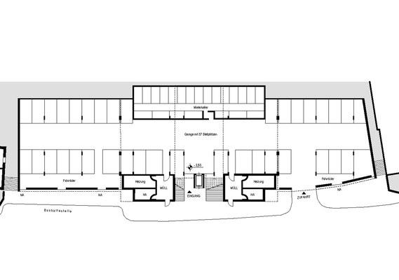 Wettbewerb I Quartiersentwicklung Breitenhagen, Altena, Längsschnitt Garagengeschoss