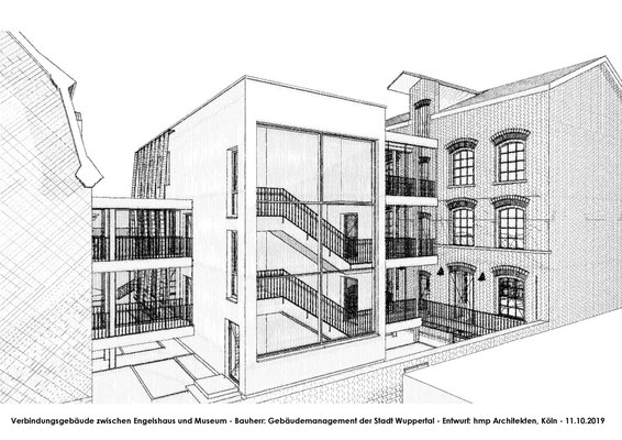 Neubau des Verbindungsbaus zwischen Engelshaus und Museum für Frühindustrialisierung in Wuppertal - Skizze 04