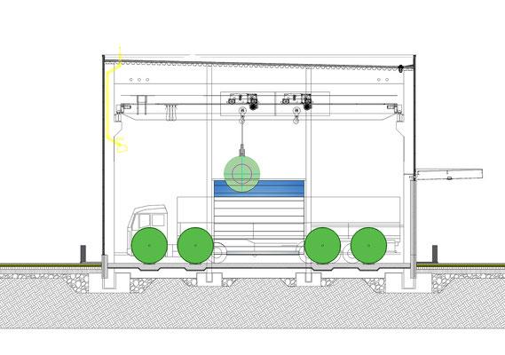 Hallenerweiterung für Gross-Coils, Drahtwerk Köln GmbH, Schnitt