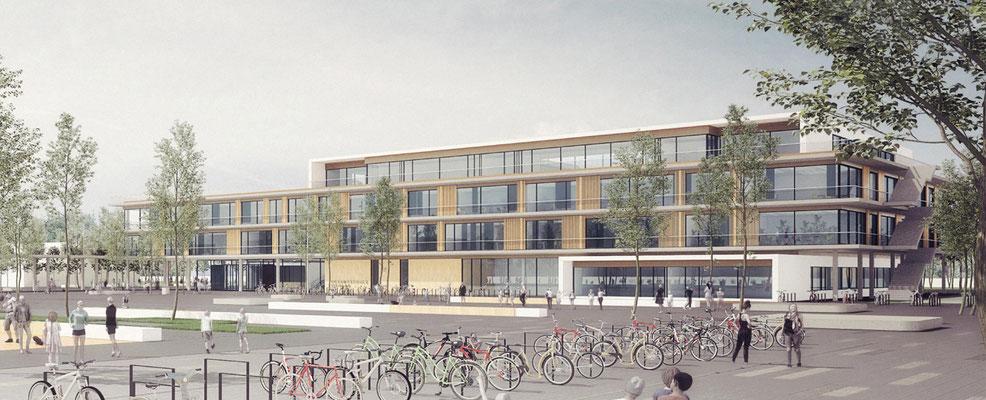 Wettbewerb Neubau Gesamtschule Sieglar, Animation Schulgebäude 2