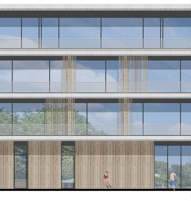 Wettbewerb Neubau Gesamtschule Sieglar, Fassadenansicht