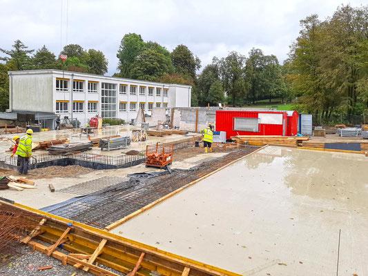 Neubau Kindertagesstätte Schulstraße Wülfrath, die Bodenplatte ist im Bau