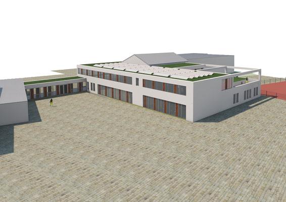 Generalplanung zur Erweiterung Josef-Schaeben-Grundschule Weilerswist, Vorplanung Ansicht Sued