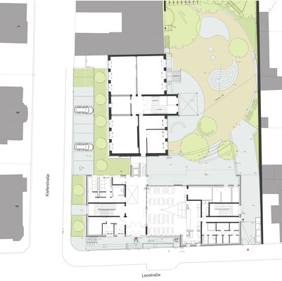 Erweiterung Brüder-Grimm-Schule Dortmund, Grundriss Erdgeschoss mit Grünanlagen