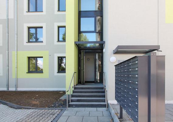 Erweiterung Wohnanlage für Studierende in der Bernkasteler Straße in Köln, Eingangsbereich