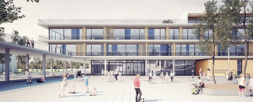 Wettbewerb Neubau Gesamtschule Sieglar, Animation Schulhof zu Haupteingang