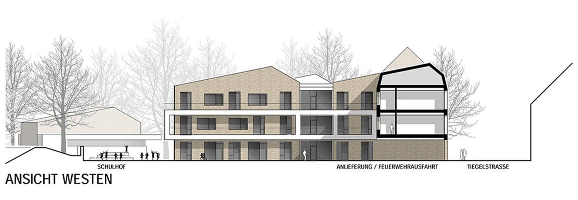 Anerkennung im Wettbewerb Neubau Tiegelschule Essen, Ansicht West