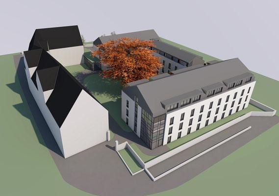 Wettbewerb I Ersatzneubau Studierendenwohnheim St. Martinskloster Trier, Perspektive Asoniusstraße