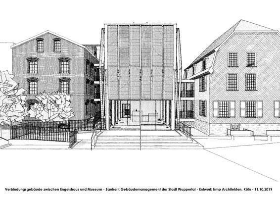 Neubau des Verbindungsbaus zwischen Engelshaus und Museum für Frühindustrialisierung in Wuppertal - Skizze 02