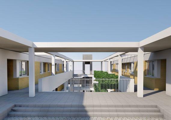 Wettbewerb I Quartiersentwicklung Breitenhagen, Altena, Ansicht begrünter Innenhof 02