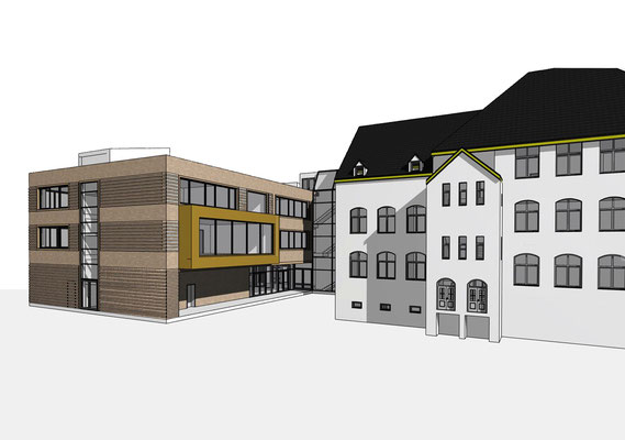 Erweiterung Brüder-Grimm-Schule Dortmund, Schulhof Ansicht