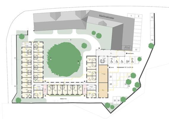 Wettbewerb I Ersatzneubau Studierendenwohnheim St. Martinskloster Trier, Lageplan und Grundriss